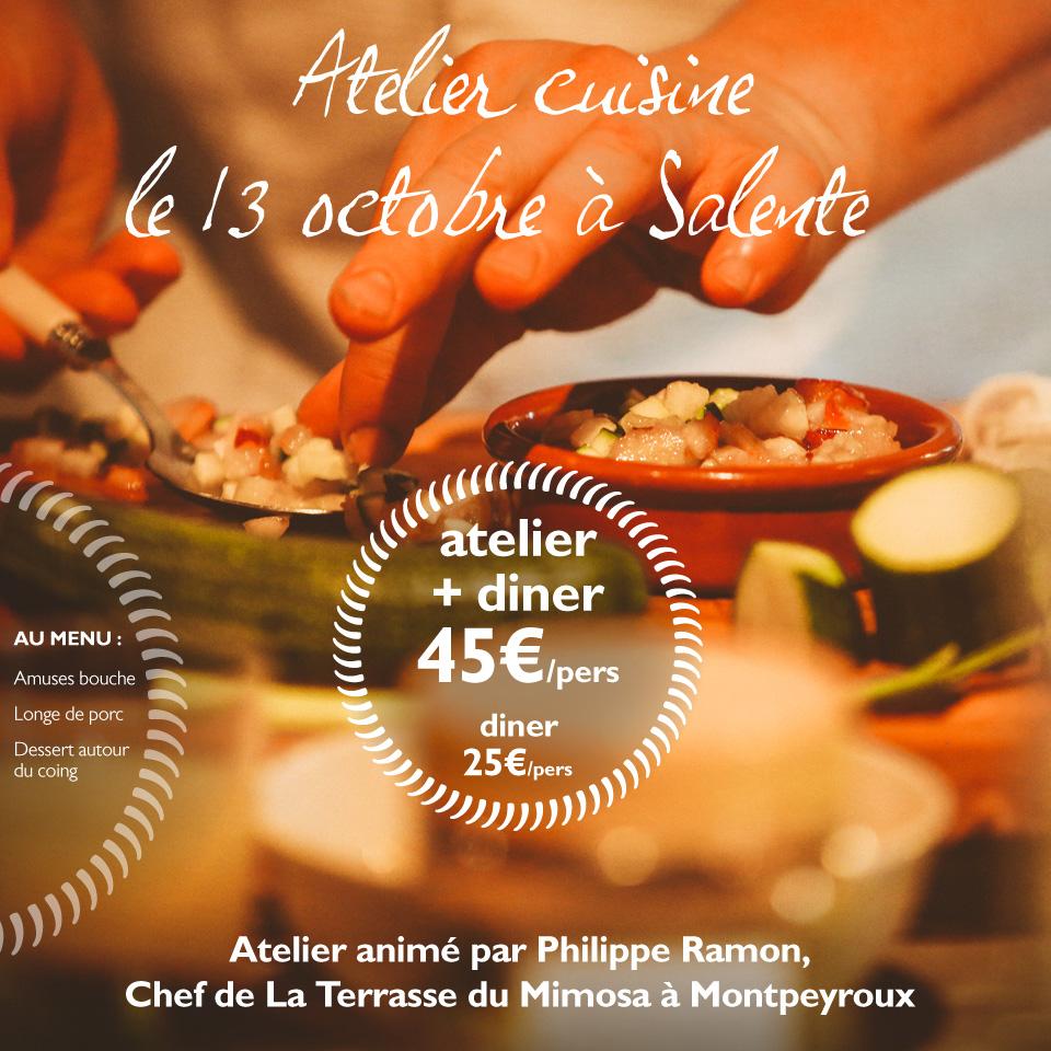 Atelier cuisine au Domaine de Salente, Hérault (34150)