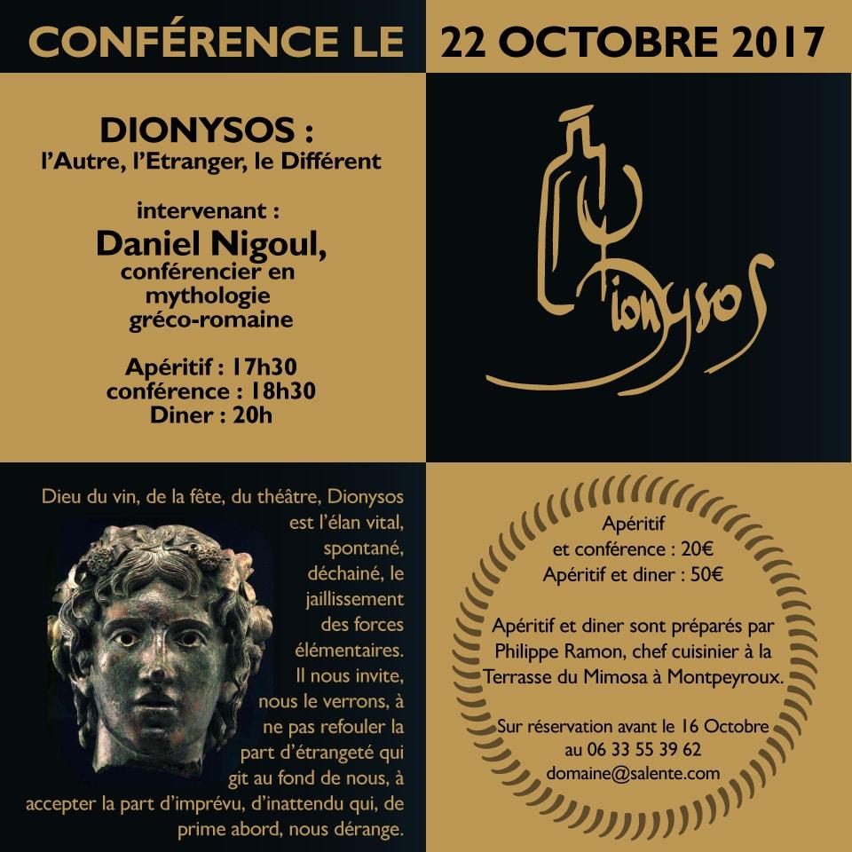 Conférence Dyonisos au Domaine de Salente, Hérault (34150)
